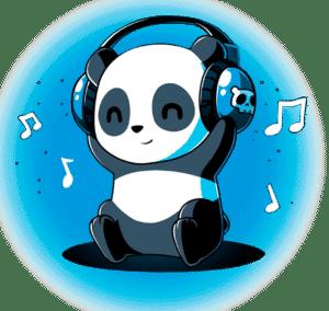 Camiseta Mujer Panda Music Manga Corta