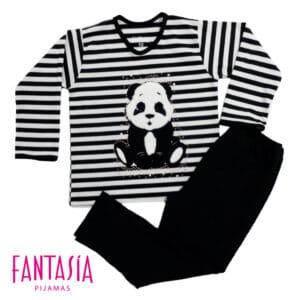 Pijama Rayas para Niñas o Para Mujer Oso Panda